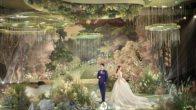 牛油果绿色系的森系婚礼