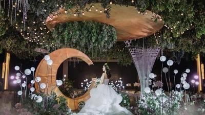 牛油果绿+薰衣草紫的法式森系婚礼
