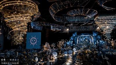 星空蓝搭配莫兰迪灰,一场浪漫唯美的星空婚礼