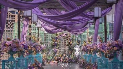 莫奈紫与苔藓绿的配色,一场莫奈花园的主题婚礼
