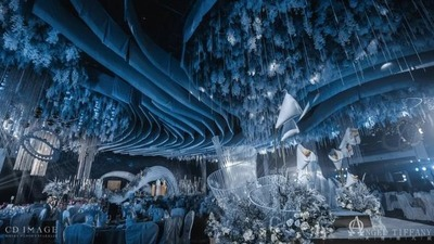 以莫比乌斯环为主题的蓝色系婚礼