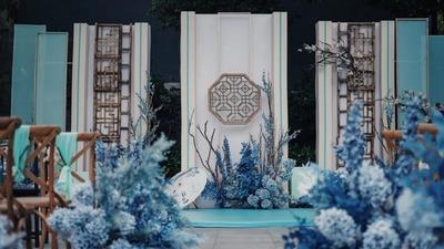 水墨蓝为主色调的新中式婚礼