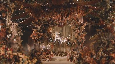 浪漫的棕色系花园主题婚礼
