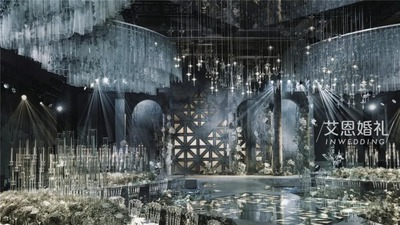 高级大气的灰蓝色系,一场以魔兽世界为主题的婚礼