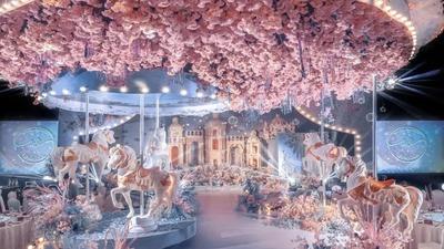 粉蓝色的星光园游会主题婚礼