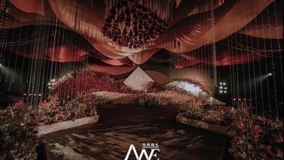 高级质感的砖红色系婚礼