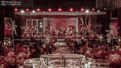 暖暖的勃艮第红色系婚礼
