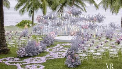 粉紫色系的海边目的地婚礼