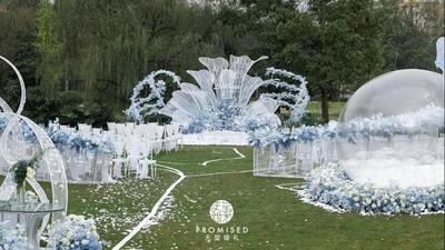 唯美至极的蓝白色系户外婚礼