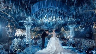 高质感蓝色调的童话主题婚礼