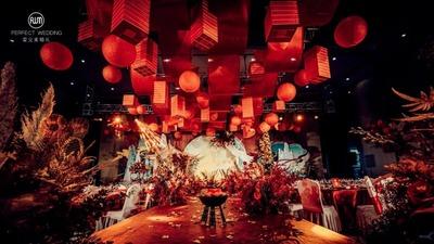 充满东方韵味的红蓝色系中式婚礼