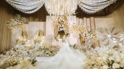 温馨浪漫的粉色+香槟金色系婚礼