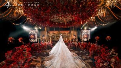 浪漫浮华的红金色凡尔赛宫殿婚礼