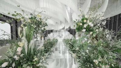 高级优雅的白绿色韩系婚礼