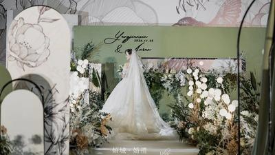 牛油果绿+白色系婚礼