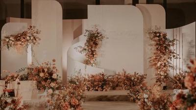 温馨浪漫的珊瑚粉+橙色系婚礼