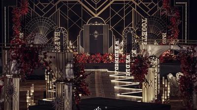 以Art Deco艺术风格为灵感,创造了这场与众不同的黑金色系婚礼