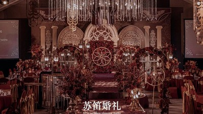 华丽复古金+炙热勃艮第红的欧式宫廷风婚礼
