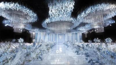 低调又耀眼夺目的蓝白色梦幻水晶婚礼