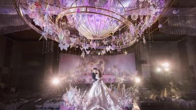 色彩绚丽的粉紫色系童话城堡主题婚礼
