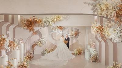 低饱和少女粉色系的极简主义风婚礼