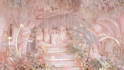 以裸粉色为主色调轻柔梦幻的星空主题婚礼