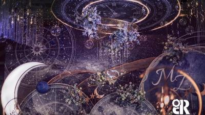 深邃而优雅的蓝色+紫色系星空主题婚礼