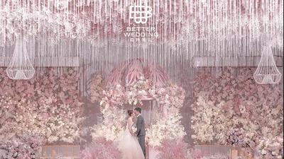 既时尚又浪漫充满了设计感的渐变粉色系婚礼