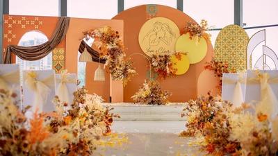 惬意而不失庄重的爱马仕橙色系婚礼