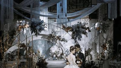 闲庭古风的淡蓝色新中式婚礼