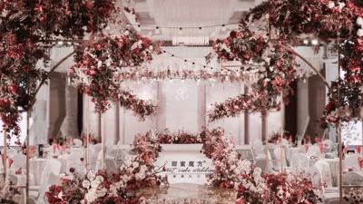 温暖优雅的豆沙粉色+红色系婚礼