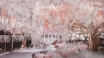 浪漫优雅的浅粉色系空中花园主题婚礼