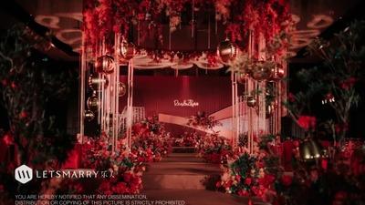 复古风情与摩登设计相结合的红金色系婚礼