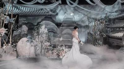 以青灰蓝色为主色调的江南古风婚礼