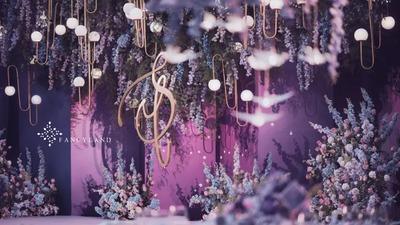 星空下的梦幻雾霾蓝紫色系户外婚礼