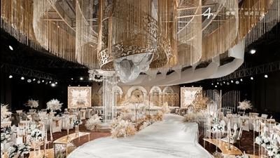 高级又精致的现代简约风香槟色系婚礼