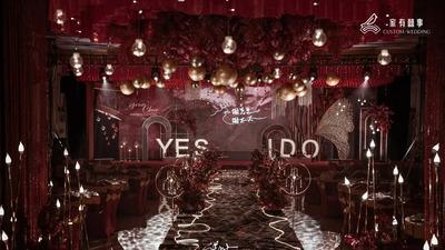 高级感红黑色系的混搭,碰撞出这场炽热而浓烈的婚礼