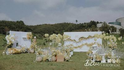 充满了夏日柠檬香气的黄色+白色系户外婚礼