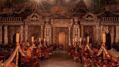 华丽细腻有质感的红金色系欧式宫廷风婚礼