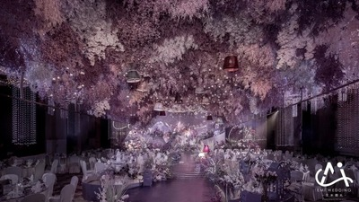 以月见草为设计灵感,打造一场富有诗性的紫色系婚礼