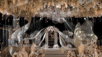 富丽堂皇的香槟色系欧式宫廷风婚礼