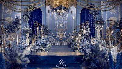 彰显了奢华与富丽的蓝金色系欧式宫廷风婚礼