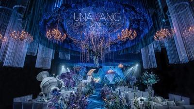 充满了奇幻元素的靛蓝色+紫色系童话主题婚礼