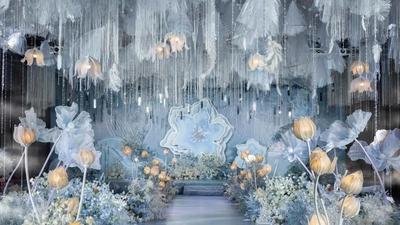 沉静高雅且浪漫的雾霾蓝色系铃兰花主题婚礼