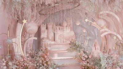 以裸粉色为主色调的轻柔梦幻星空主题婚礼