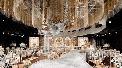 高级感十足的轻奢香槟金+优雅白色系婚礼