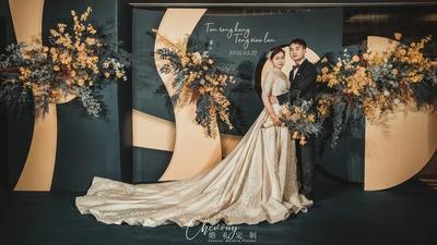 深灰蓝撞色落日黄,带来一场别致而温暖的婚礼