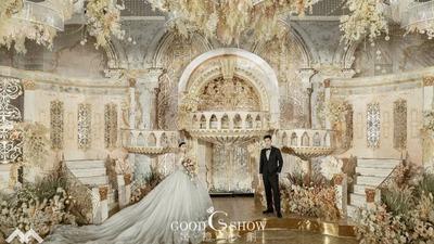 有着皇家风范的华丽香槟色欧式城堡主题婚礼