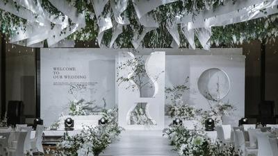 清甜淡雅的白绿色系韩式简约风婚礼