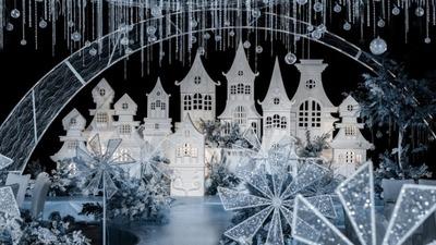 静谧梦幻的冰蓝色+月牙白色系星空城堡婚礼